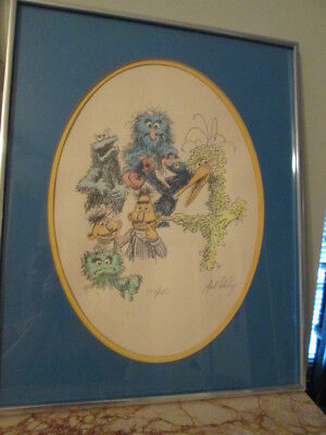 7 Sesame Street Characters Hand Signed And Numbered Art Dudley, Rare #177/250
