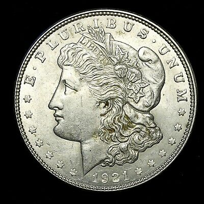 1921 D ~**ABOUT UNCIRCULATED AU**~ Silver Morgan Dollar Rare US Old Coin! #K14