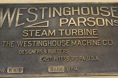 Vintage Westinghouse Parsons Steam Turbine Brass Name Plate / Plaque