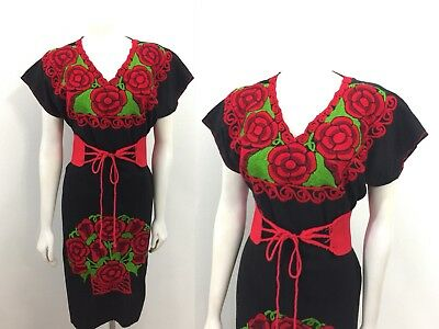 Vintage Black Mexican Dress Huipil Peasant Embroidered Rose Oaxaca Cotton Caftan
