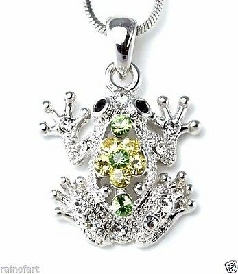 "Frog Green Pendant Made With Swarovski Crystal Jungle Toad 18"" Chain Necklace"