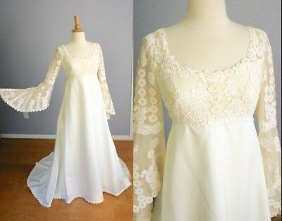 Vintage 60s 70s Teeny by PRISCILLA of BOSTON Wedding Gown Lace Wedding Dress