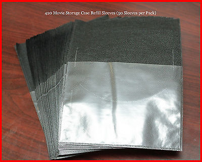 New 50 Pk Refill Sleeves for DVD Blu-Ray Movie Storage case replacement Black
