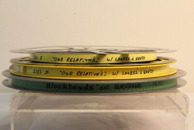 """Lot Of 3 Vintage Movie Reels """"Our Relations"""" W/ Laurel & Hardy """"Blockheads"""""""