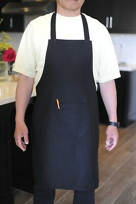 Bib Apron Commercial Restaurant Home Kitchen Cooking Women Men Chef With Pocket