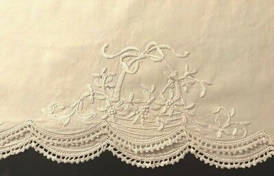 "Large Open Sides Seamless Pillowcase Hand Embroidery, Drownwork, 64"" x 21"""
