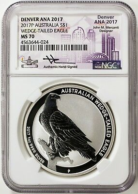 2017-P Australia Wedge-Tailed Silver Eagle Ngc Ms70 Mercanti Denver Ana