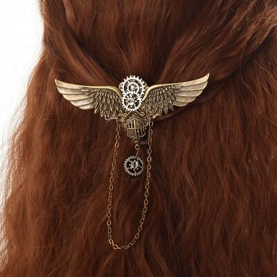 1pc Steampunk Gear Wing Pattern Brooch Vintage Medieval Victorian Hairclip