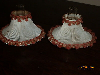 Pair Vintage Miniature Oil Lamp Shades for Antique Oil Lamps Shades Only