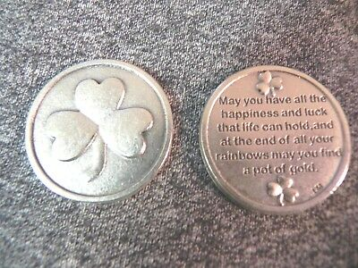Good Luck Token Coin Irish Shamrock Pocket Pot of Gold Wishes Poem Clover Leaf