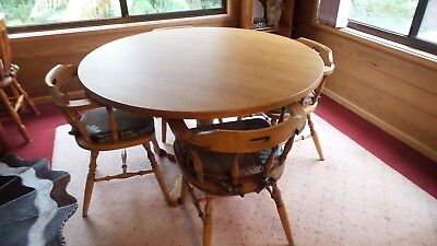 Light Oak coloured country style solid timber pedestal Dining Table and 5 chairs