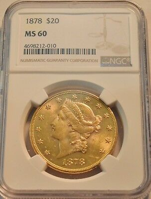 1878 $20 NGC MS 60 Gold Liberty Double Eagle, Better Date Uncirculated PQ Twenty