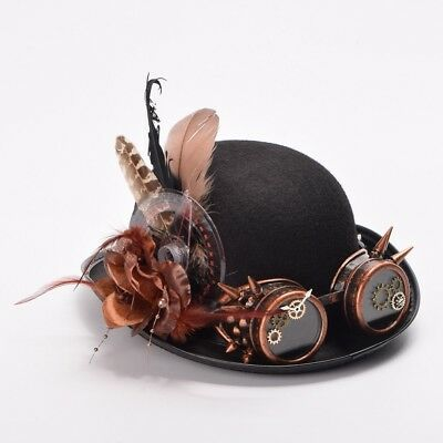 1pc Vintage Steampunk Hat  Feathers Gear Glasses Gothic Hat Victorian Cosplay