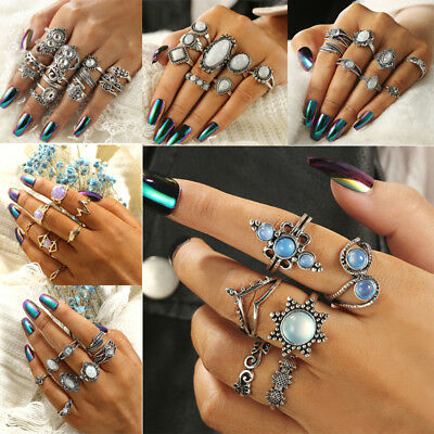 Bohemian Gemstone Midi Rings Set Women's Jewelry Boho Opal Knuckle Finger Ring