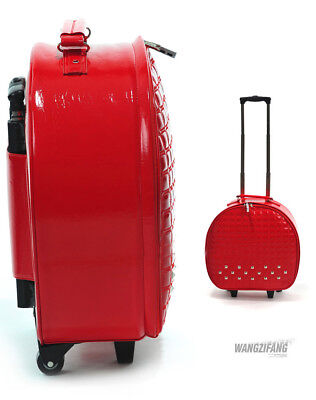 E840 Red European Style Round Shape Draw Bar Trolley Suitcase 20 Inches W