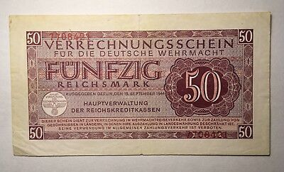 PM41 - 1944 German Armed Forces Clearing Note - 50 Reichsmark - LOW RESERVE!