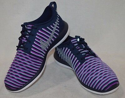 a859e350939c NIKE ROSHE TWO Flyknit (GS) Purple Silver Navy Girl s Running Shoes ...