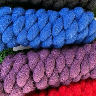 Horse Cotton Rope Lead ~1 1/4 Np Snap ~ 6Ft  Black Blue Purple & Red