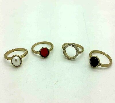 Avon Fashion Ring Set of 4 Red Black Jewels Jewellery Brass plated Present Gift