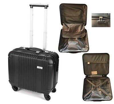 Business Case Trolley Luggage Suitcase Bag Carry On 4 Wheels Black