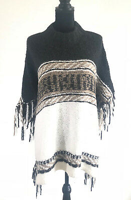 04094c446f Free People Womens Black White Brown Pullover Poncho Knit Crochet Sweater XS