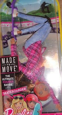 Barbie Made to Move 2017, Rare skateboard rider for the collector.