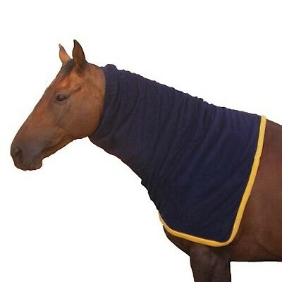 Horse/Pony Polar Fleece Neck Rug Anti Pill  Blue/Gold Trim   Pony Cob & Full