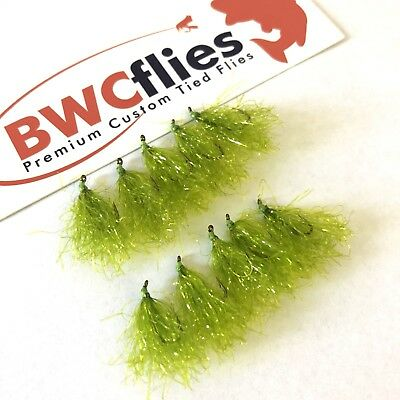 BWCflies Weed Flies 10pk Bright ( 5 X Size 8, 5 X Size 10) For Luderick