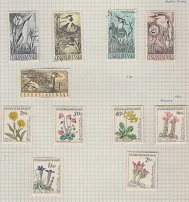 CZECHOSLOVAKIA 1960 Water Birds, Flowers etc on Old Book Pages,as per scan #