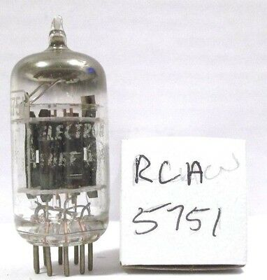 Vintage Rca 5751 12Ax7 Nos White Label Vacuum Tube 3 Mica Black Plate Box Getter