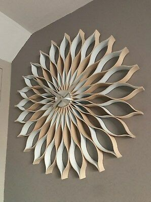 WHITE  wall clock, 89 cm ,large, modern,  handmade   natural wood ,