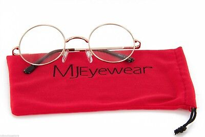 MJ Eyewear Small Round Glasses Clear Lens with Spring Hinges