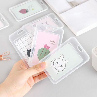 Transparent Cactus Card Holder with Bell Name ID School Card Holder Keychain Bag