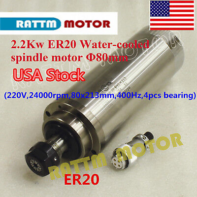 【USA】2.2KW Water Cooled Spindle Motor ER20 220V 24000rpm 80mm CNC Router Milling