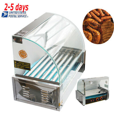USA Commercial Home 18 Hot Dog Hotdog 7 Roller Grill Cooker Machine With Cover