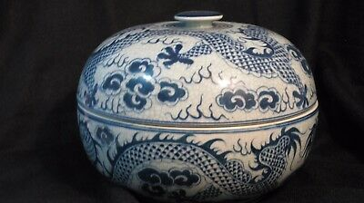 ASIAN VINTAGE: Blue/White Thai Rice Bowl hand painted