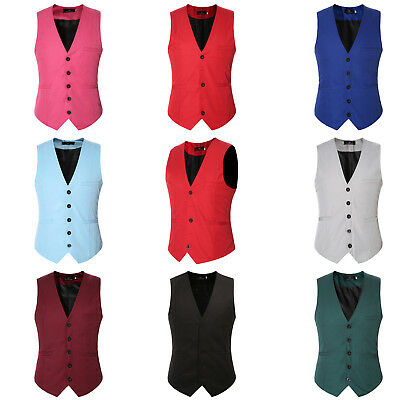 Mens Casual Solid Plain Cotton Waistcoat Jacket Formal Wedding Tuxedo Vest