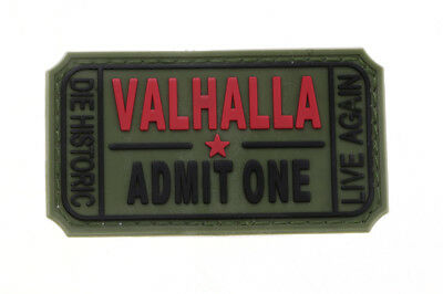 VALHALLA ADMIT ONE Sew on Patch PVC Hook and Loop Design