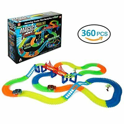 SEHR GUT: Rennbahn 360 Stück Magic Tracks Glow Race Track Neon 2 LED Autos