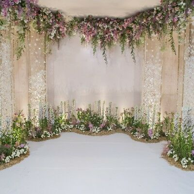 8x8ft Floral Wedding Ceremony Backdrop Event Banner Photography Background