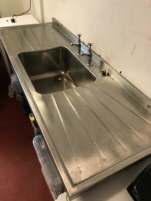 Commercial Stainless Steel Single Sink On Alloy Legs With Lower Shelf & Taps
