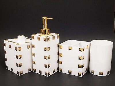 New Mike+Ally 4 Pc Set White Resin Gold Pyramid Studs Soap Dispenser+Jar+Tumbler