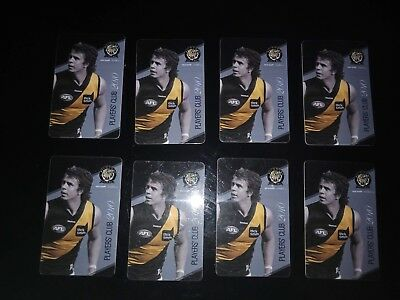 8 x richmond tigers 2010 players club member afl,  rounds 1 - 18 collectable