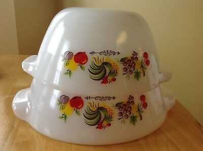 Vintage Fire King Chanticleer Rooster Nesting Mixing Bowls Oven Ware Set Of 2