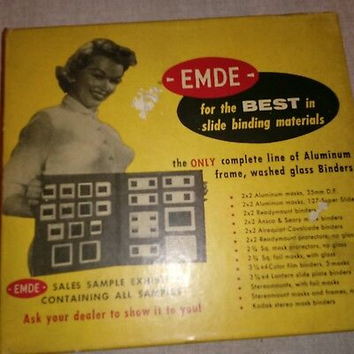 Vintage EMDE SLIDE BINDING MATERIALS = ALL SALES SAMPLE KIT ALUMINUM FRAMES unus