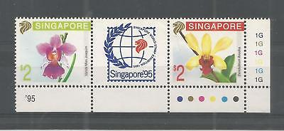 Singapore 1991 Stamp Ex Orchids 1St  Issue Sg,653-654 U/mm Nh Lot 7176A
