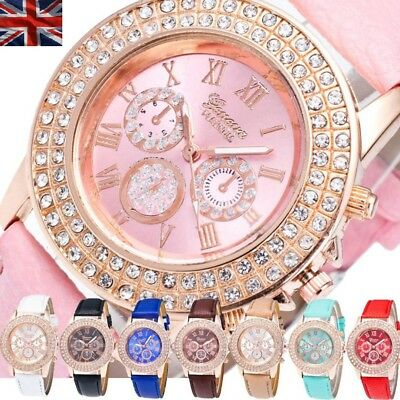 Geneva Platinum Crystal Ladies Women Girl Stainless Steel Quartz Wrist Watch Uk