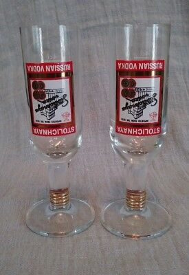 Stolichnaya Russian Vodka Shot Glasses Upside Down Label Pedestal USSR 5 INCHES