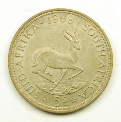 1958 South Africa 5 Shilling Coin; 50% Silver