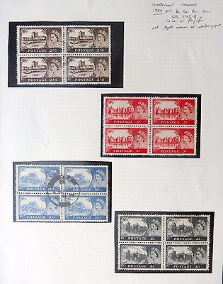 GB 1959 Castles 2nd De La Rue in Used Blocks of 4 NB137